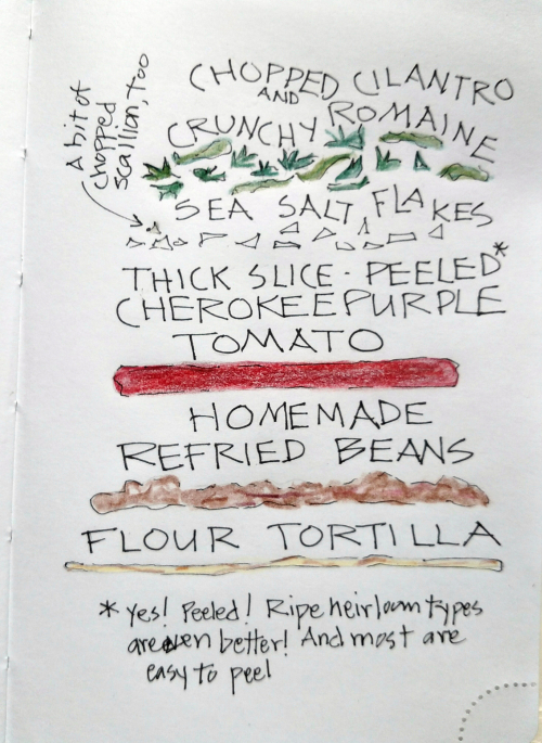 Tortilla refried beans tomato illuminated